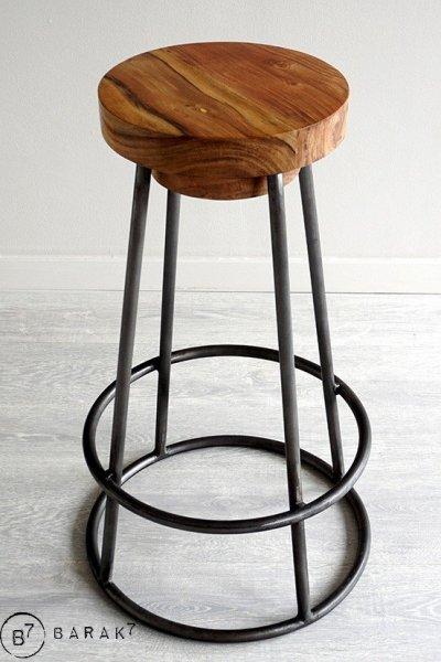 Scandinavische kruk SCANDUS hout en metaal